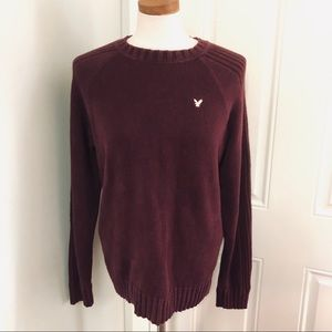Maroon American Eagle thick knit crewneck sweater